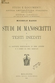 Cover of: Studi di manoscritti e testi inediti