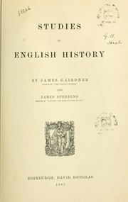 Cover of: Studies in English history