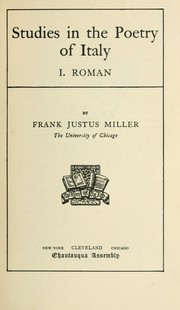 Cover of: Studies in the poetry of Italy | Frank Justus Miller