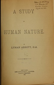 Cover of: A study in human nature