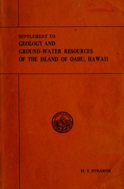 Cover of: Supplement to the Geology and ground-water resources of the island of Oahu, Hawaii