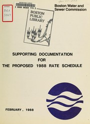 Supporting documentation for the proposed 1988 rate schedule