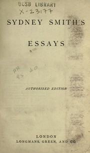 Cover of: Sydney Smith's essays