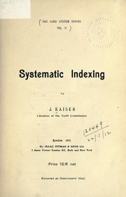 Cover of: Systematic Indexing