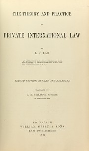 Cover of: The theory and practice of private international law