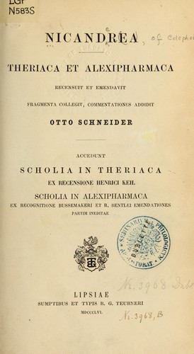 Theriaca et Alexipharmaca by Nicander of Colophon