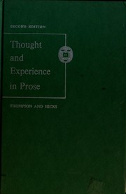 Cover of: Thought and experience in prose | Craig R. Thompson