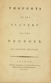 Cover of: Thoughts on the slavery of the Negroes