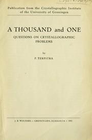 Cover of: A thousand and one questions on crystallographic problems