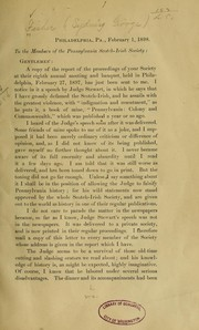 Cover of: To the members of the Pennsylvania Scotch-Irish society