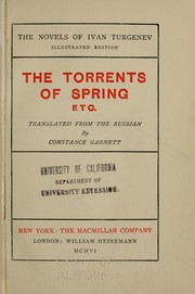Cover of: The torrents of spring, etc