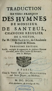 Cover of: Traduction en vers françois des hymnes de monsieur de Santeul, chanoine regulier de S. Victor