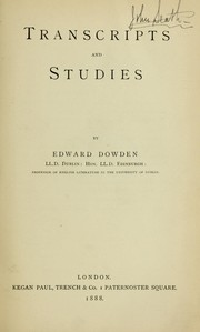 Cover of: Transcripts and studies