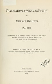 Cover of: Translations of German poetry in American magazines, 1741-1810 | Edward Ziegler Davis