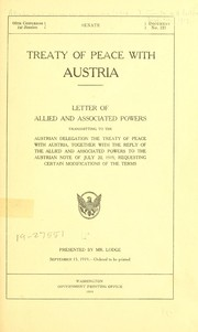Cover of: Treaty of peace with Austria