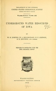 Cover of: Underground water resources of Iowa