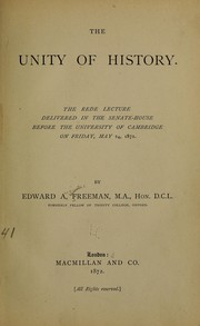 Cover of: The unity of history