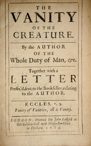 Cover of: The vanity of the creature