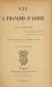 Cover of: Vie de S. Francois d'Assise