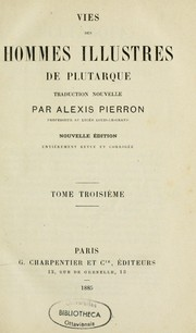 Cover of: Vies des hommes illustres de Plutarque