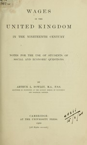 Cover of: Wages in the United Kingdom in the nineteenth century