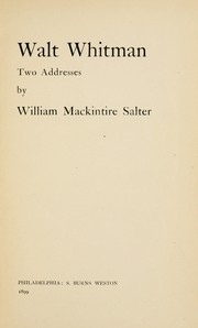 Cover of: Walt Whitman: two addresses