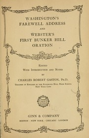 Cover of: Washington's Farewell address and Webster's First Bunker Hill oration