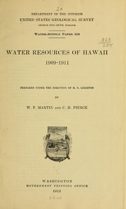 Cover of: Water resources of Hawaii 1909-19́11 | William F. Martin