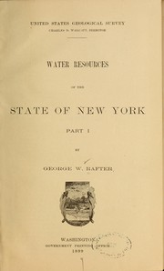 Cover of: Water resources of the state of New York ... | Rafter, Geo. W.