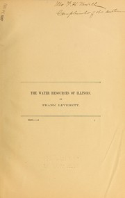 Cover of: The water resources of Illinois