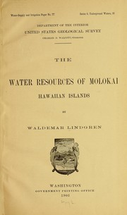 Cover of: The water resources of Molokai, Hawaiian islands