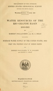 Cover of: Water resources of the Rio Grande basin, 1888-1913