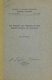 Cover of: The whence and whither of the modern science of language | Benjamin Ide Wheeler