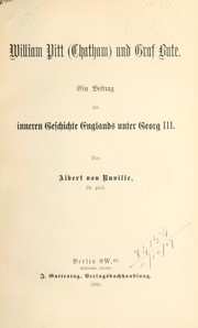 Cover of: William Pitt (Chatham) und Graf Bute