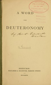 Cover of: A word upon Deuteronomy | Daniel Edward