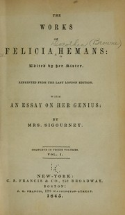 Cover of: The works of Felicia Hemans