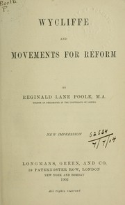 Cover of: Wycliffe and the movements for reform