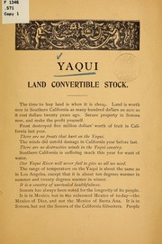 Cover of: Yaqui land convertible stock | Sonora and Sinaloa irrigation company