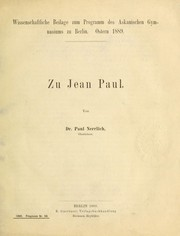 Cover of: Zu Jean Paul