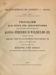 Cover of: Zur Quellenfrage bei Lukretius
