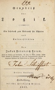 Cover of: Grundriss der logik