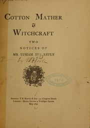 Cover of: Cotton Mather & witchcraft