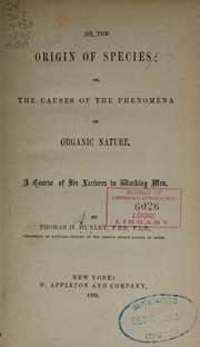 Cover of: On the origin of species