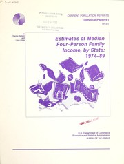 Cover of: Estimates of median four-person family income, by state, 1974-89 (Current population reports) | Charles Nelson