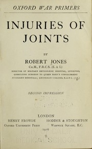 Cover of: Injuries of joints