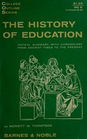 Cover of: The history of education | Merritt Moore Thompson