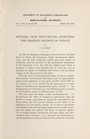 Cover of: Studies upon influences affecting the protein content of wheat
