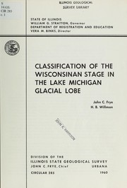 Cover of: Classification of the Wisconsinan stage in the Lake Michigan glacial lobe