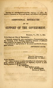 Cover of: Additional estimates for the support of the government