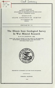 Cover of: The Illinois State geological survey in war mineral research